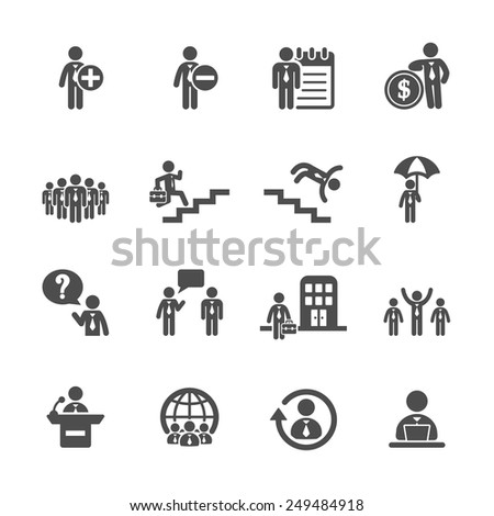 business and human resource management icon set 3, vector eps10. - stock vector