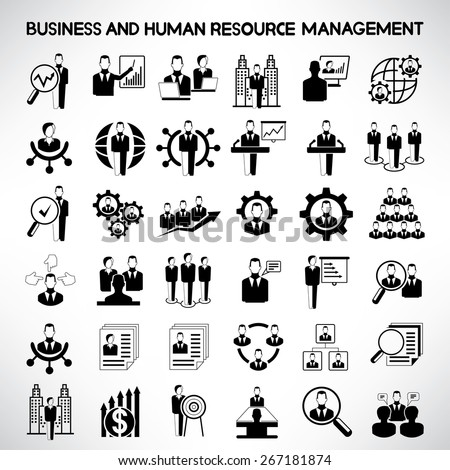 business and human resource management icons set - stock vector