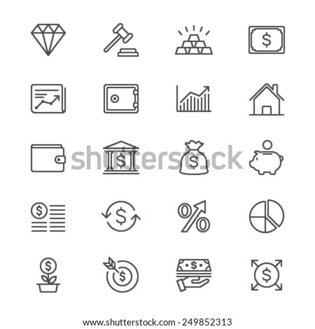 Business and investment thin icons