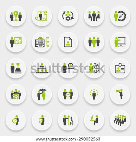 Business and management green gray icons on white buttons.