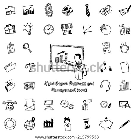 Business and management hand drawn icons - stock vector