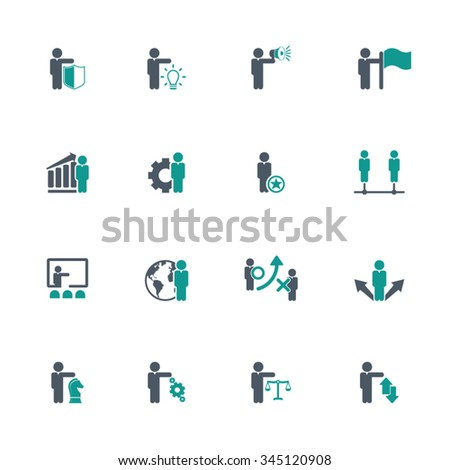 Business and management icon set - stock vector