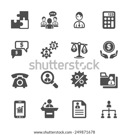 business and management icon set 3, vector eps10. - stock vector