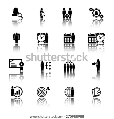Business and management icon set - woman, female characters icon set - stock vector