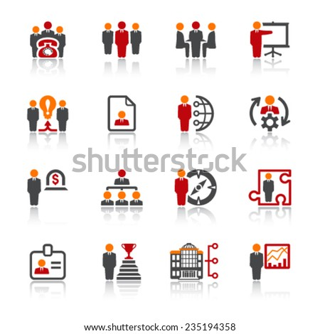 Business and management icons. Color series. - stock vector