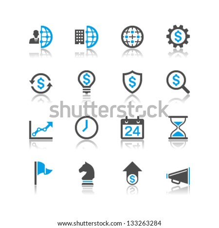 Business and management icons reflection theme - stock vector