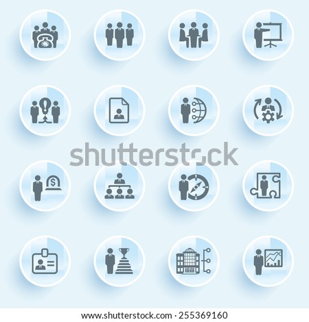 Business and management icons with buttons on blue background. - stock vector