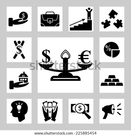 Business and money related icons set - stock vector