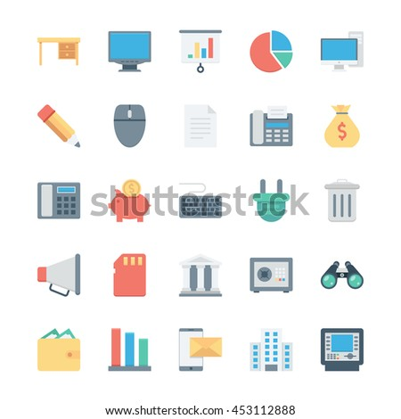 Business and Office Colored Vector Icons 2 - stock vector