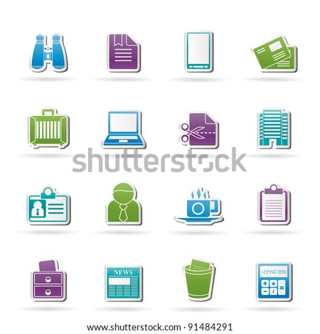 Business and office elements icons - vector icon set - stock vector
