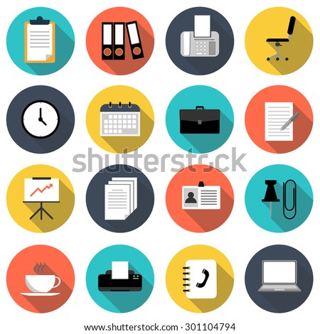 business and office flat icon set vector illustration design with long shadow isolated on white background. for web and mobile application - stock vector