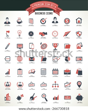 Business and office icon set,clean vector - stock vector