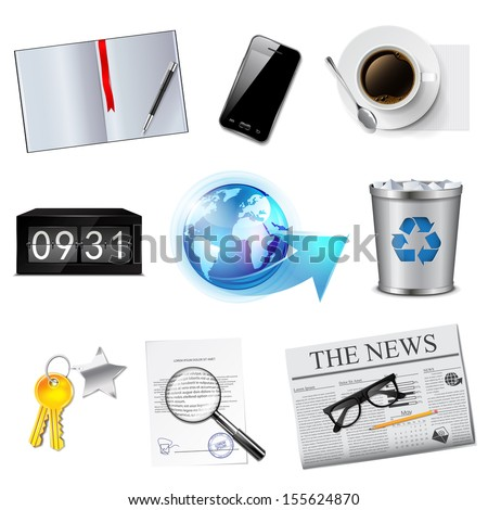 Business and office icons set. Detailed vector illustration. - stock vector