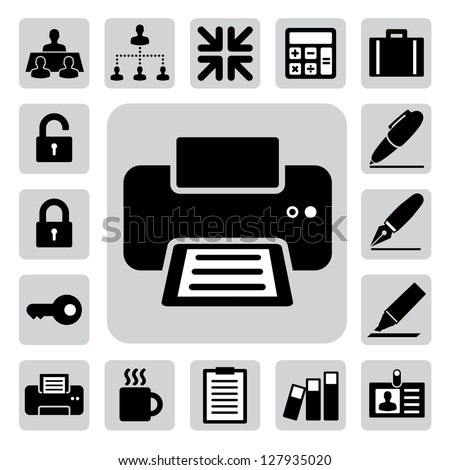 Business and office icons set. Illustration eps 10 - stock vector