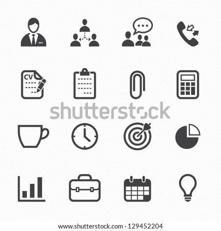 Business and Office Icons with White Background - stock vector