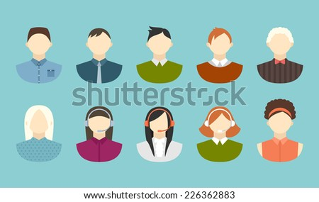 Business and office people flat vector icons