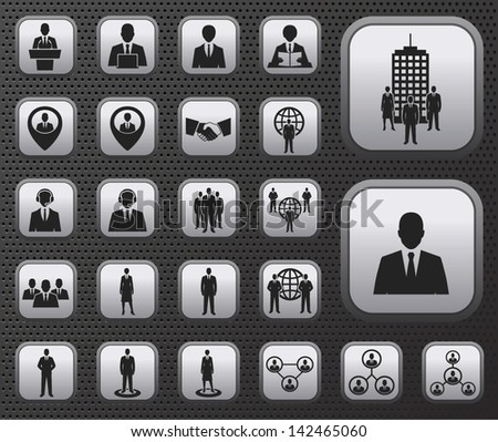 Business and office people, management, human resources vector icons buttons set on metal plates - stock vector
