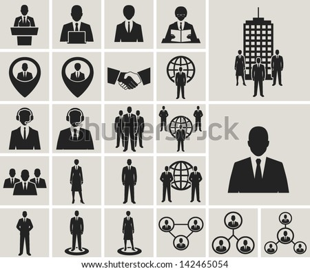 Business and office people, management, human resources vector icons set - stock vector