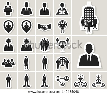 Business and office people, management, human resources vector icons set. paper stickers - stock vector