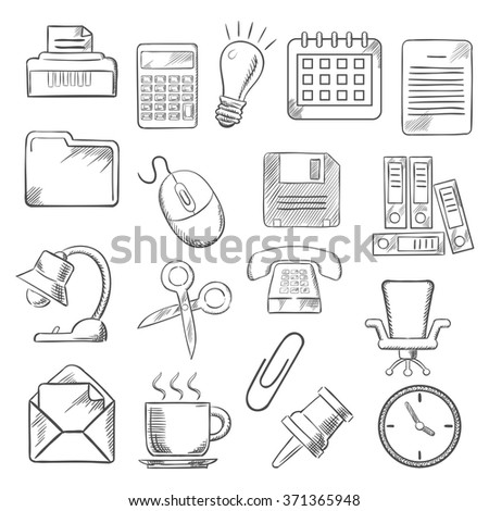 Business and office sketch icons with light bulb, phone, calendar calculator and mouse,  mail and folders, documents and clock, coffee and chair, shredder and scissors, lamp and pin. Vector sketch - stock vector