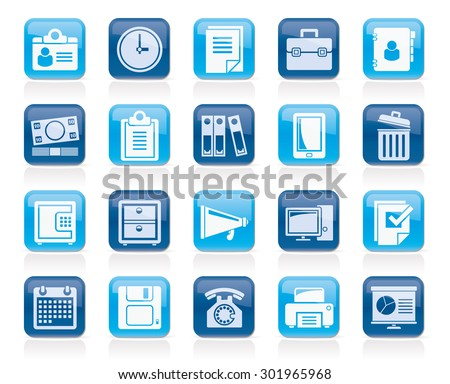 Business and office supplies icons - vector icon set - stock vector