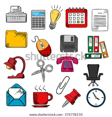 Business and office supplies icons with light bulb and phone, calendar and calculator, mouse and e-mail, folders documents and clock,  coffee cup and chair, shredder and scissors, pin and clip - stock vector