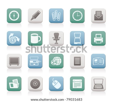 Business and Office tools icons - vector icon set 2 - stock vector