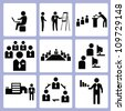 business and organization icon set, vector - stock photo