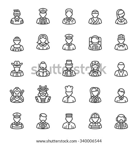 Business and people professional icons - stock vector