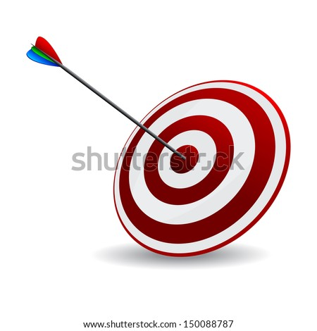 Business and Sports concept with 3d arrow in bullseye. Arrow  Hitting A Target, Isolated On White Background