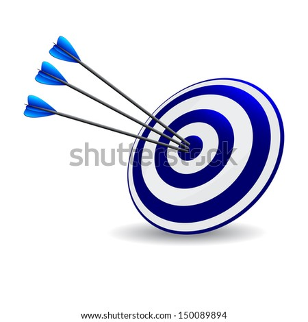Business and Sports concept with 3d three arrows in bullseye. Arrows Hitting A Target, Isolated On White Background