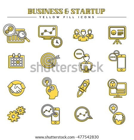 Business and startup, yellow fill icons set
