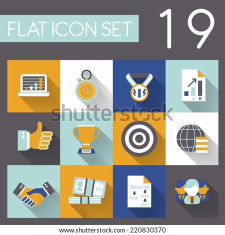 business and success icon set in flat design - stock vector