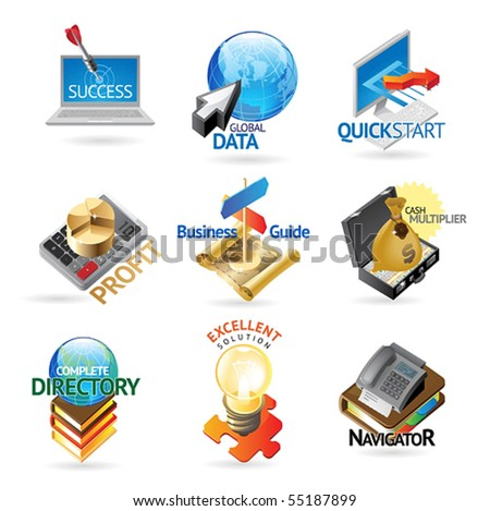 Business and technology icons. Heading concepts for document, article or website. Vector illustration. - stock vector