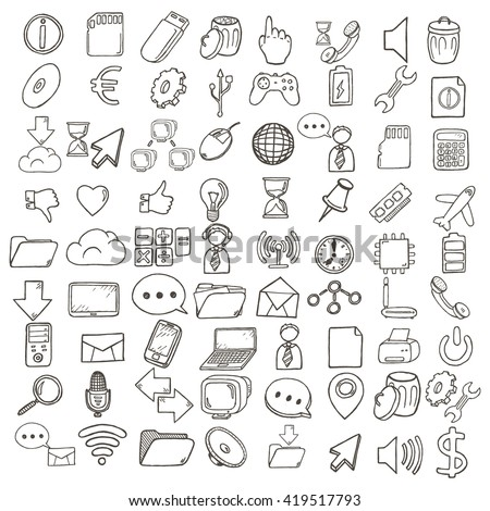 Business and web hand drawn icons set.