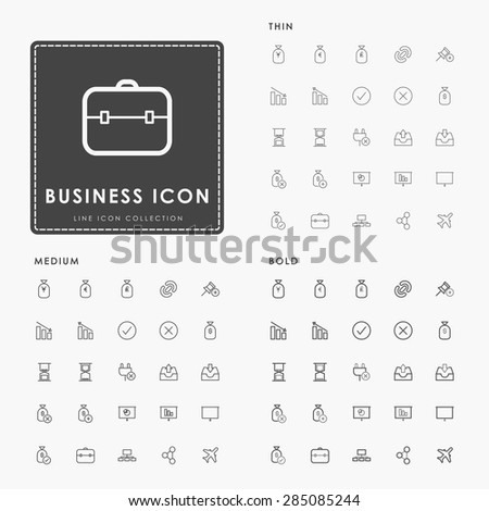 business and web on thin, medium and bold outline icons concept - stock vector