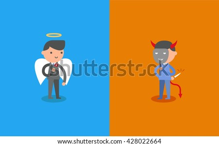 Business Angel and Devil. Business concept cartoon illustration. - stock vector
