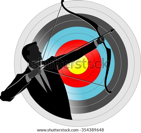 Business Archer-Business leader showing accuracy or precision aim - stock vector
