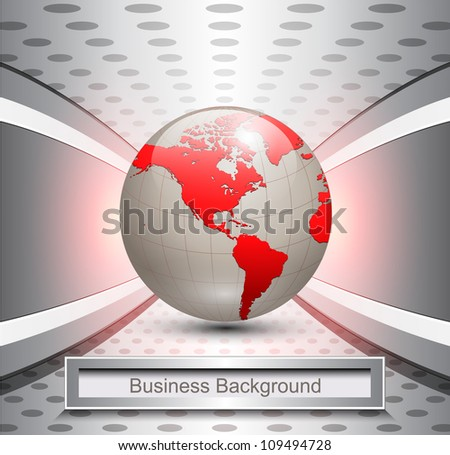 Business background, 3d elegant grey with red world, vector illustration. - stock vector