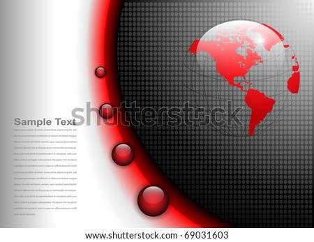 business background glowing red and grey, vector. - stock vector