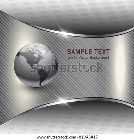 Business background grey metallic with earth globe, vector - stock vector
