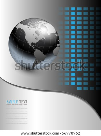 business background grey with earth globe - stock vector