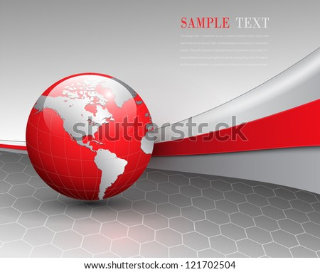 Business background, grey with red world globe, vector. - stock vector