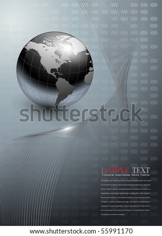business background, grey with world globe, vector. - stock vector
