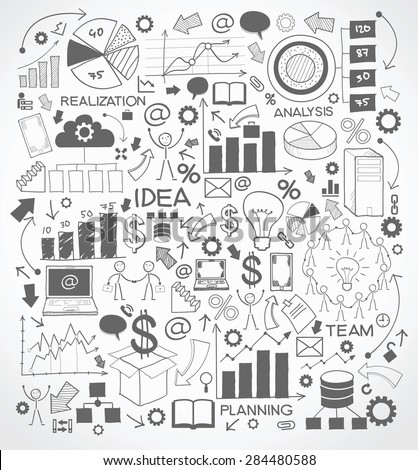 Business background is doodles icons on the topic of technology and business - stock vector