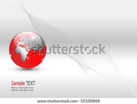 business background, silver with red world globe, vector. - stock vector