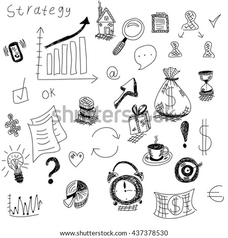 Business background. Vector sketches of icons. Background for business subjects, the project for subjects with finances. For training, team, team. To promote entrepreneurship and subjects. - stock vector