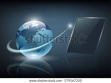 business background with a screen on a dark background - stock vector