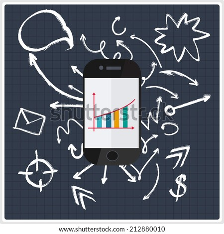 Business background with flat phone and hand drawn arrows
