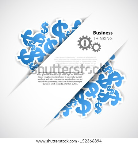 business background with symbol of business and dollar - stock vector